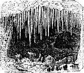 Stalactite in cave, vintage engraving.