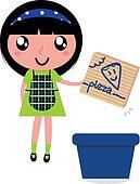 Cute girl recycle paper box into recycling bin