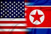 Waving USA and North Korea Flag