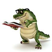 Croc reading book