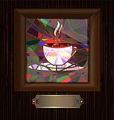 wooden frame and stained glass with cup of coffee