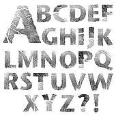 Set of real fingerprint letters