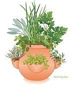 Herb Garden, Strawberry Jar Planter
