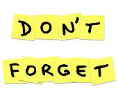 Don't Forget Reminder Words on Yellow Sticky Notes