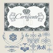 Collection of vintage elements for certificate design