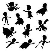 Set of kids' superhero silhouettes