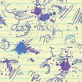 scrawl and blot on school paper sheet seamless
