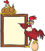 rooster, hen and billboard