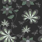 Seamless background with butterfly ang flower. Vector