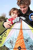 Father and little with kite