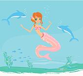 Illustration of a Beautiful mermaid