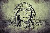 sketch of American Indian elder