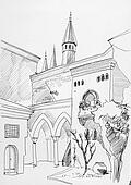 Ink sketch of Istanbul Topkapi museum inner yard with towers, co