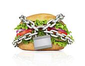 Hamburger constrained with chain. Choose healthy food.