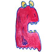 drawing kids watercolor monster cartoon jelly on white backgroun