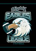 Mighty Eagles League football team on black background