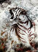 painting abstract tiger collage on color abstract  background,