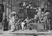 1872 Exhibition of Painting, A Japanese Bazaar, vintage engraving.
