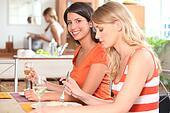 Young women having lunch