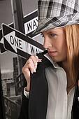 Fashionable woman wearing hat
