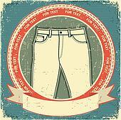 Jeans label set on vintage old paper.Vector clothes background
