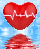 Electro On Heart Displays Passionate Relationship Or Heartbeats