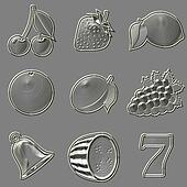 Metal relief slot machine fruit symbols