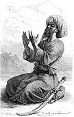 Hadji Bilal, pilgrim Tartar companion Vambery, vintage engraving.