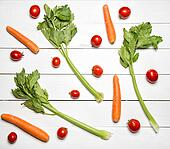 Fresh vegetables on white wooden table.Top view