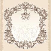 Henna Tattoo Paisley Doodle Frame