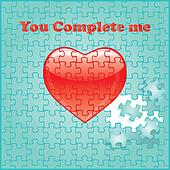 You complete me puzzle with heart
