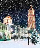 Orthodox cathedral at Christmas night snowstorm