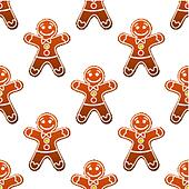 Gingerbread man cookie seamless pattern