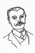 Original ink line drawing. Portrait of an Edwardian gentleman.