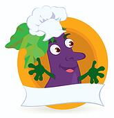 Eggplant-cartoon-character-with-promo-ribbon