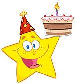 Star Holding A Birthday Cake