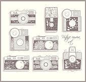 Retro photo cameras set