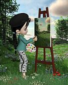 Cute Toon Landscape Artist Girl