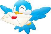 Cartoon Bird Carrying Love Letter