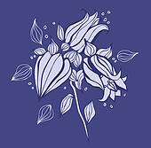 Beautiful purple flower. Hand drawn vector illustration