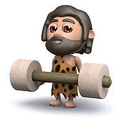 3d Caveman weightlifter