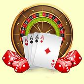 Illustration of casino roulette wheel with cards and dice.