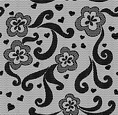 Black lace seamless fabric pattern