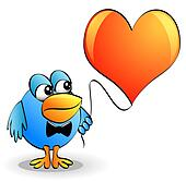 amusing bird in tie keeps heart on thread
