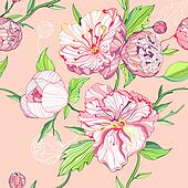 Seamless pink background with peony