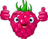Cheerful Cartoon Raspberry charact
