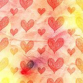 watercolor pattern of hearts