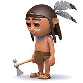 3d Native American Indian with axe