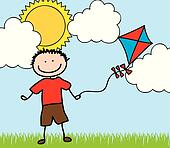 boy with kite drawing