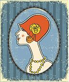 Vintage woman face in fashion hat.Retro image